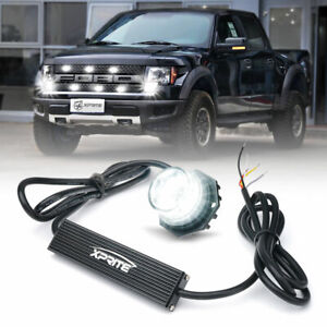 Xprite White Led Strobe Light Hide a way Emergency Warning Bulb Headlight Mount