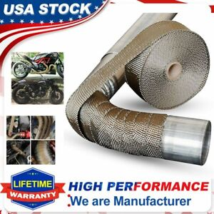2 x 50ft Roll Titanium Header Turbo Pipe Lava Manifold Exhaust Heat Wrap 10 Ties