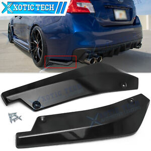 For Subaru Wrx Sti Rear Bumper Splitter Diffuser Canards Gloss Black Texture