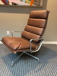 Eames Herman Miller Soft Pad Aluminum Group Lounge Chair Genuine Leather Tobacco