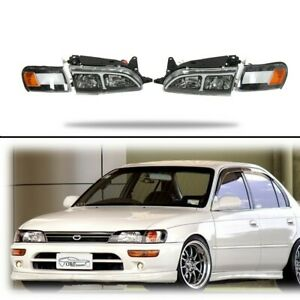 For 93 97 Toyota Corolla Jdm Dx Style Headlights Corners Lights W led Drl Set