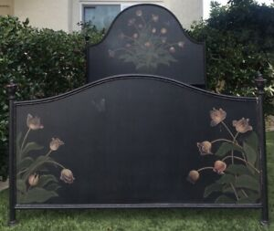 Antique European Tole Hand Painted Bed Floral Tulip Butterfly Black Multi 59 5