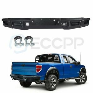 Durable Steel Rear Replacement Bumper W 4pcs Led Lights For 2012 14 Ford F 150