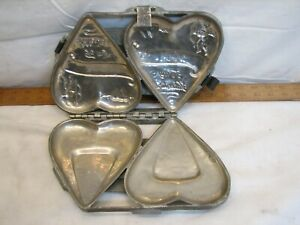Lg Antique Double 6 Valentine Heart Metal Chocolate Candy Mold Cupid Heavy Duty
