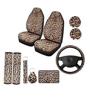 10pcs Universal Leopard Print Car Seat Cover Set With Steering Wheel Covershoulder