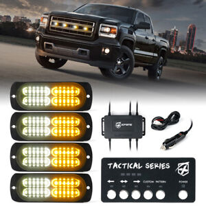 4pcs Led Strobe Lights Side Marker Grille Emergency Hazard Warning White Amber
