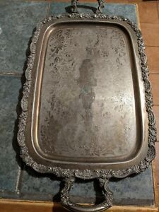 Silver On Copper Serving Tray