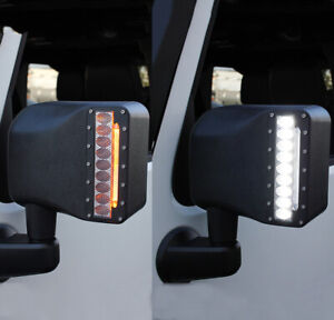 Smoke Side View Mirrors Led Turn Signal For 07 18 Jeep Wrangler Jk Sport Rubicon