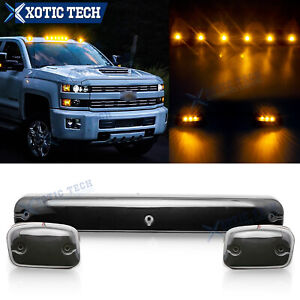 3x Amber Led Cab Roof Marker Top Lights For Chevrolet Silverado 1500 2500 3500