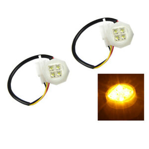 Xprite 2pcs Amber Led Hideaway Strobe Lights Bulb 20w Headlight Replacement