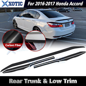 Chrome Delete Blackout Trunk Overlay For 2016 17 Honda Accord Sedan Carbon Vinyl
