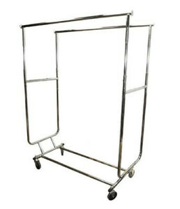 Double Bar Adjustable Parallel Clothes Rack W Swivel Wheels