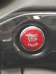 Dodge Chrysler Jeep Push To Start Ignition Switch Button Cover Carbon Fiber Red