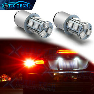 2x Ultra Red 1157 Bay15d 5050 Smd Led Bulbs For Tail Brake Light Replacement