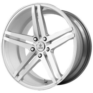 4 new 22 Inch Verde V39 Parallax 22x9 5x115 20mm Silver Wheels Rims