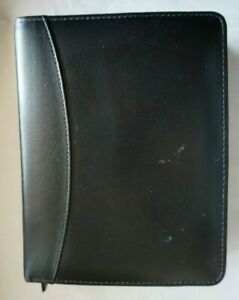 Franklin Quest Planner Black Full Grain Leather 6 Rings 8 75 x 6 75 Usa Vintage