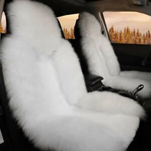 1pc Real White Fur Sheepskin Car Seat Cover One Size Fits Most Cars Universal Us