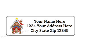 30 Christmas Gingerbread House Personalized Return Address Label 1 In X 2 625 In