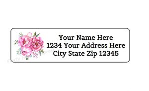 30 Peony Peonies Flowers Personalized Return Address Labels 1 In X 2 625 In