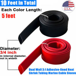 10ft Dual Wall 3 1 Adhesive lined Heat Shrink Tubing Marine Cable Sleeve 3 4