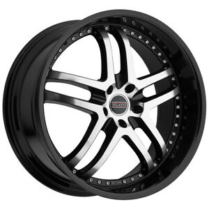 4 milanni 9012 Kapri 22x9 5x112 25mm Black machined Wheels Rims 22 Inch
