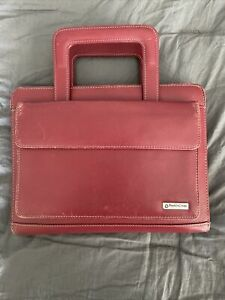 Franklin Covey Day One Red Organizer Planner Zipper Handles Synthetic Leather