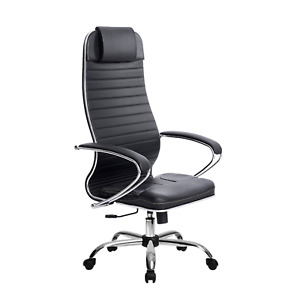 Executive Office Chair Faux Leather Computer Chair Heavy Duty Metal Base 300lb