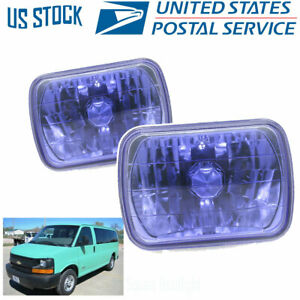 7x6 Inch Blue Housing Sealed Beam Clear Projector Universal Headllamp Assembly