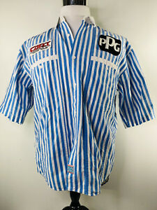 Vintage New Weekend Blue White Stipe Button up Shirt Cart Ppg Patches Size M