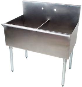 Utility Sink Prep 36 In 2 Compartment 18 X 21 X14 In Stainless Steel Commercial