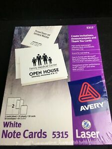 New Avery Note Cards 4 1 4 X 5 1 2 Laser Printer 5315 50 Cards 50 Envelope