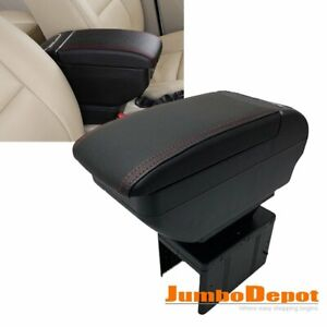 Universal Dual Tray Car Center Console Armrest Box Pu Leather Storage Cup Holder