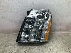 10 14 Cadillac Escalade Led Platinum Headlight Lh Left Driver Side chipped Oem