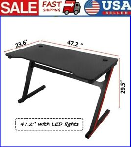47 2 Gaming Table Computer Desk Laptop Pc Study Writing Table With Led Lights