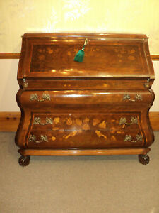 Antique Inlaid Marquetry French Style Drop Front Desk