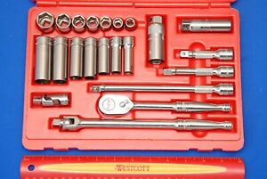 New Snap on 22 Pc 3 8 Drive 6 point Metric General Service Socket Set 222afsmp
