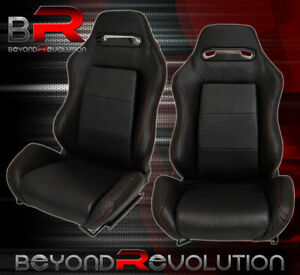 Pair Of Reclinable Bucket Seats Chairs Tiltable Pvc Leather Wrap Slider Black