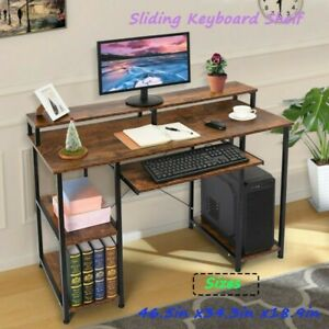Gaming Table Computer Desk Laptop Pc Study Writing Table Home Office Brown