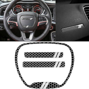 Steering Wheel Emblem Kit Trim Cover For Dodge Challenger Charger Durango 15 20