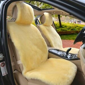 1pc Real Beige Pelt Sheepskin Fur Car Front Seat Cover One Size Fit Most Cars Us
