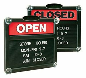 Headline Sign Double sided open closed Sign With Customizable Hours Or