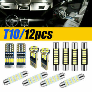 12x T10 Car Interior Led Light Bulbs For Dome License Plate Lamp Kit Accessories