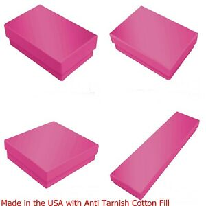 4 Sizes Assorted Glossy Hot Pink Cotton Filled Jewelry Gift Boxes 100 Boxes