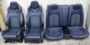 2011 2015 Cadillac Cts v Coupe Blue Leather W Suede Recaro Seat Set Used Oem Gm