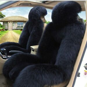 1pc Black Sheepskin Fur Car Seat Cover One Size Fit Most Universal Fit