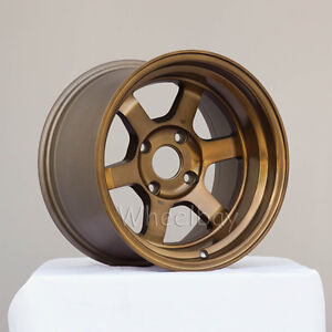 2 Pcs Only Rota Wheel Grid V 15x9 4x100 0 Full Royal Sport Bronze