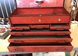 Vintage Snap on Tool Box 6 Drawers 1950 s Top Chest With Original Key