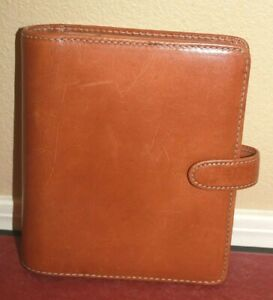 Franklin Covey Light Brown Compact 6 Ring Planner Genuine Leather Botton Closure