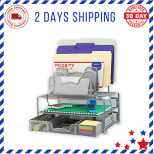 Simplehouseware Mesh Desk Organizer With Sliding Drawer Double Tray 5 Stacking