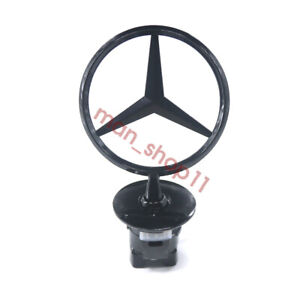 For Mercedes Benz Gloss Black Front Hood Ornament Star Mounted Emblem C E S Amg